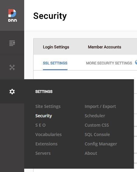 Configuración de seguridad DNN